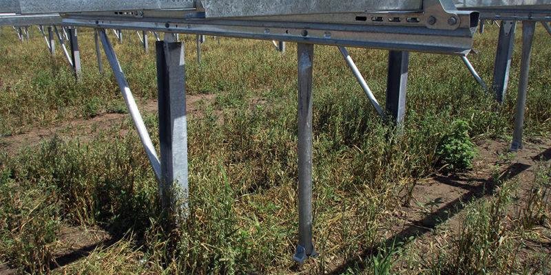 Solar panel foundation in field