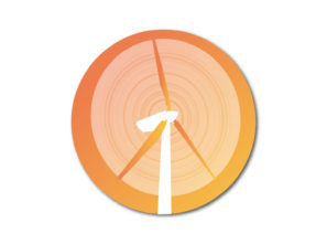 Graphic of wind turbine on orange circle