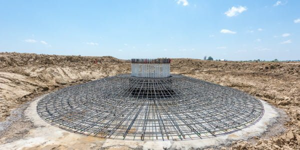 Wind foundation rebar cage
