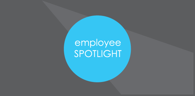 Employee spotlight blue circle icon