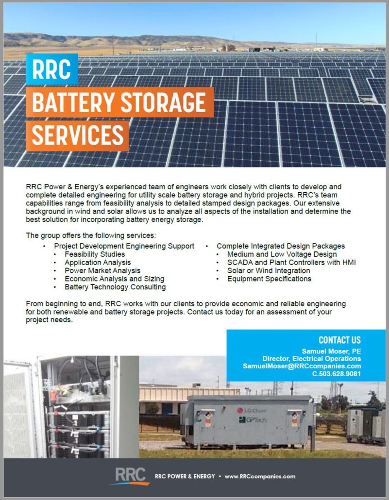 RRC Battery Storage Services brochure cover