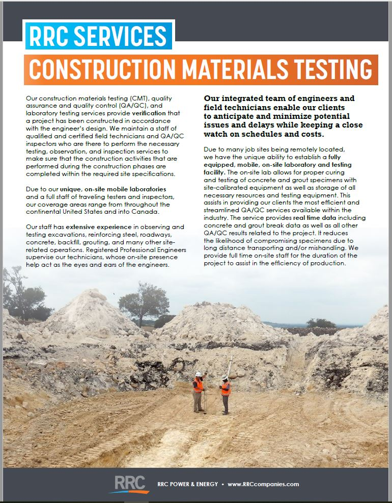 RRC Construction Materials Testing brochure cover
