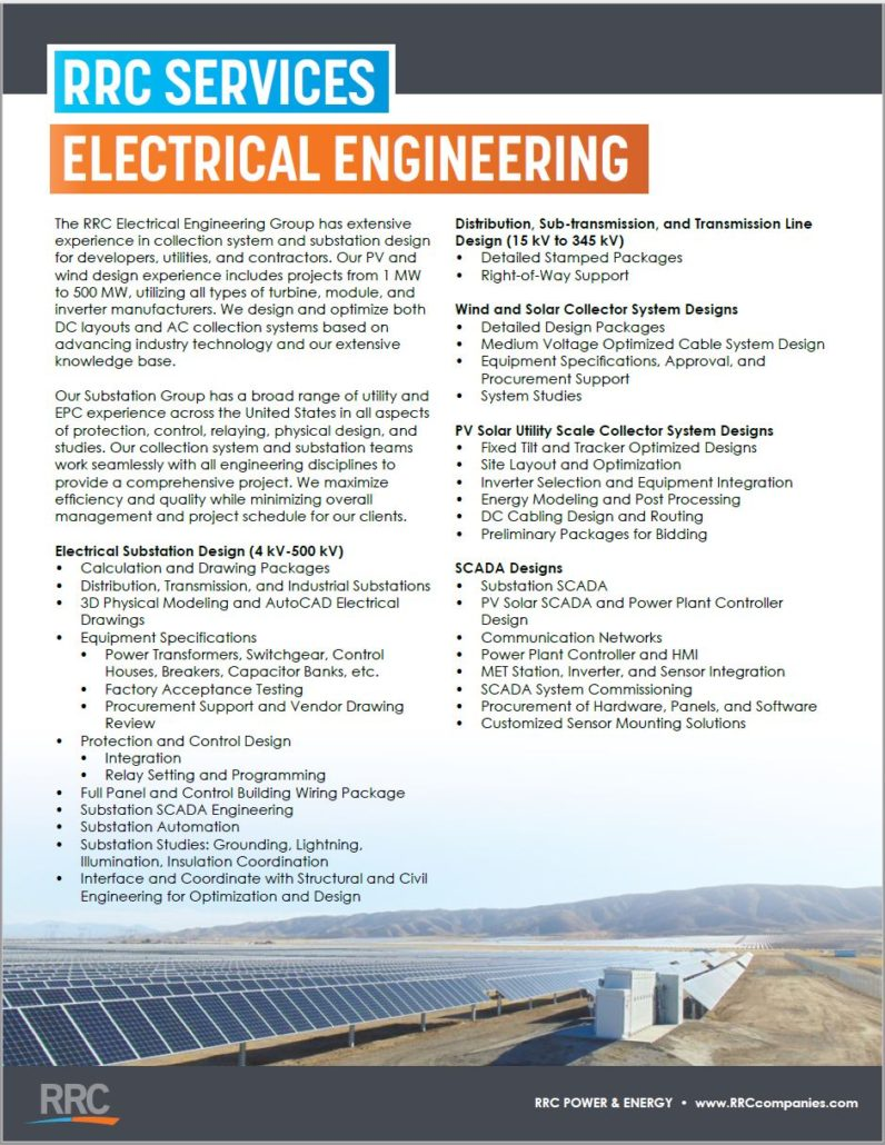 RRC Electrical Engineering brochure cover featuring rows of solar panels