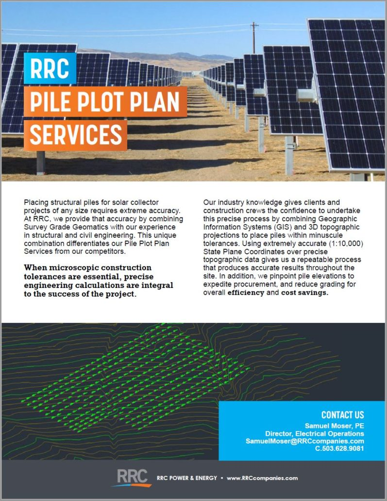 RRC Pile Plot Plan Services brochure cover featuring a row of solar panels and a digital pile plot formation