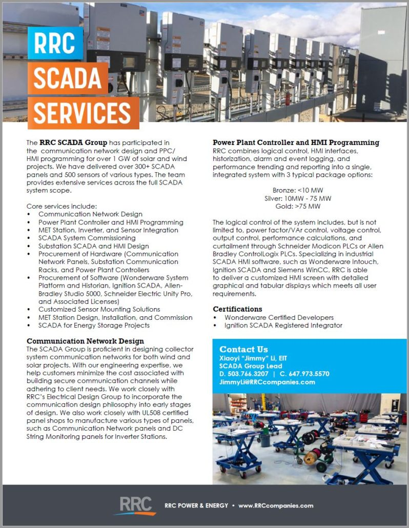 RRC Scada brochure cover featuring SCADA panel shop and row of panels