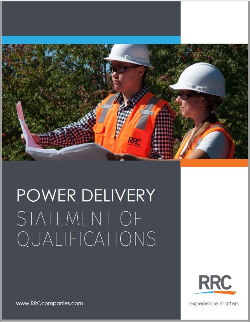 RRC Power Delivery brochure cover featuring 2 employees wearing hard hats and reviewing plans