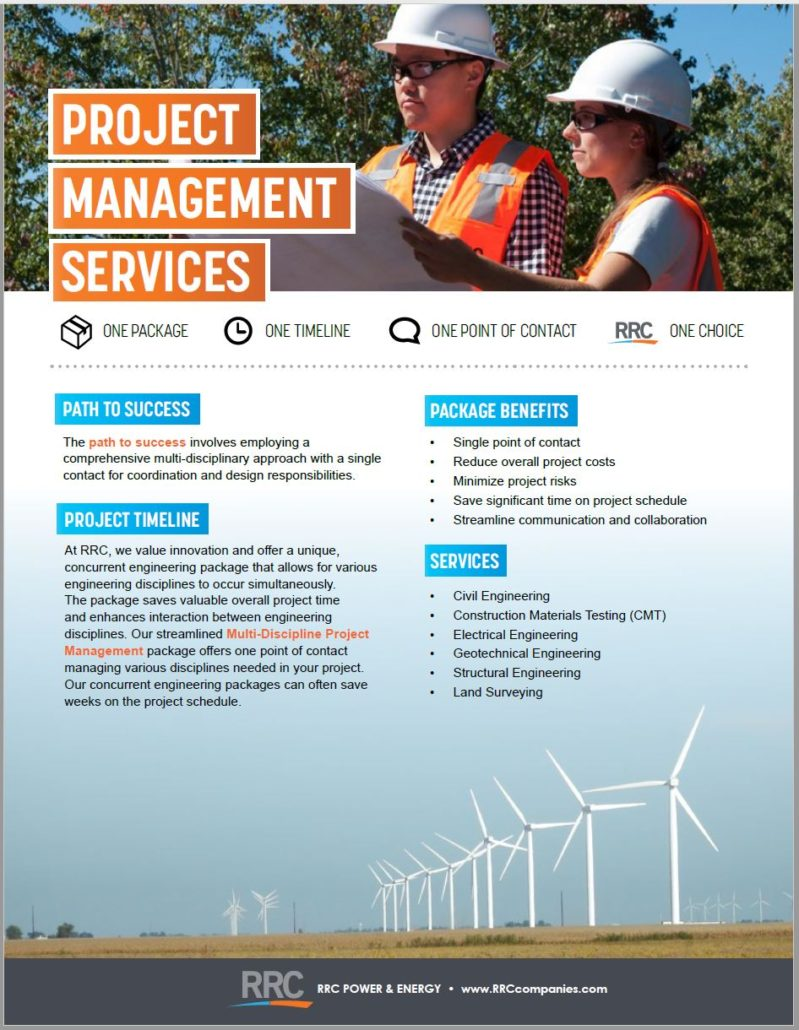 RRC Project Management brochure cover featuring wind turbines in a field