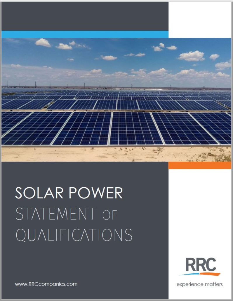 RRC Solar brochure cover featuring rows of solar panels