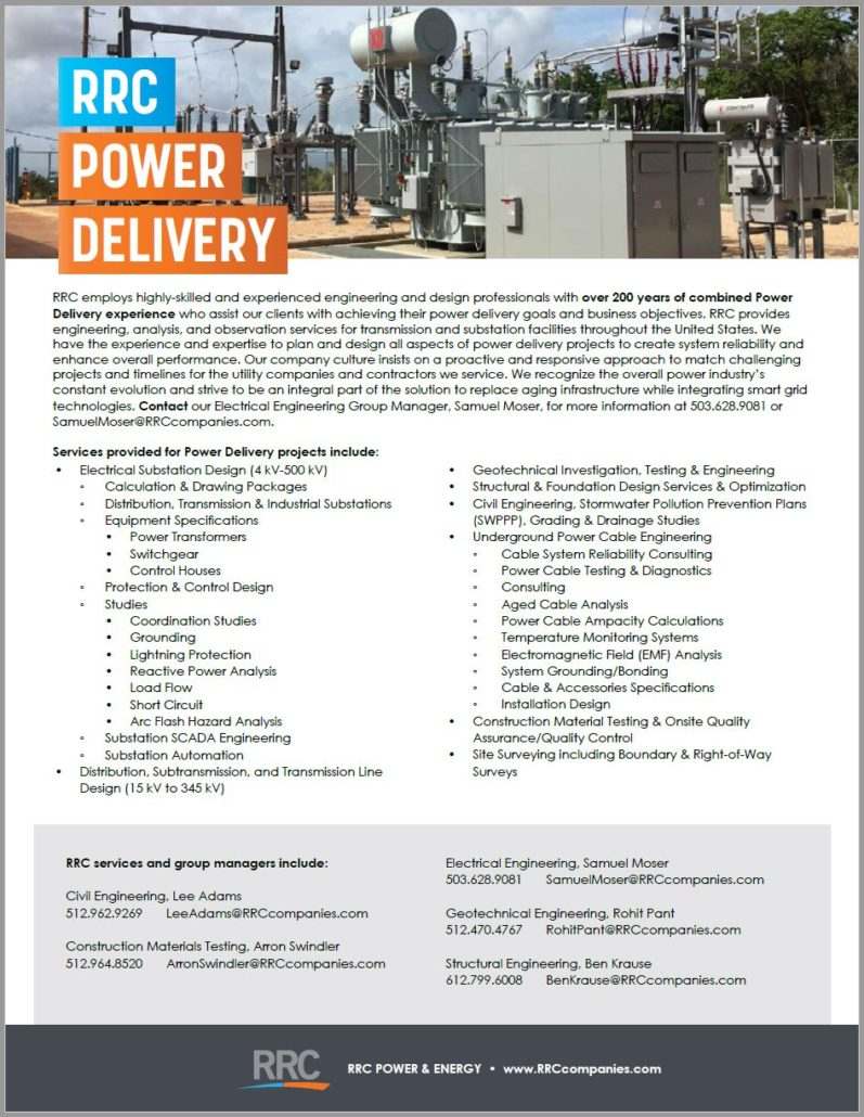 RRC Power Delivery Brochure Cover
