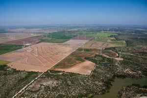 Aerial view of a wind farm