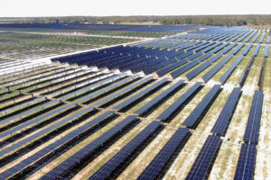 Aerial view of solar panel rows in field
