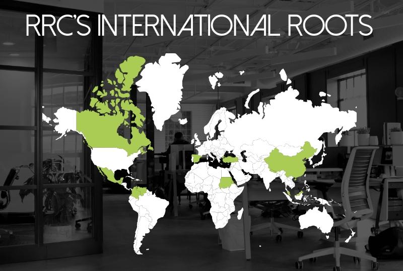Diagram of world map highlighting staff countries of origin