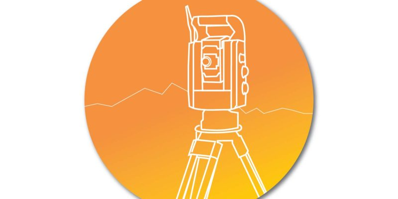 land surveying equipment outline on project